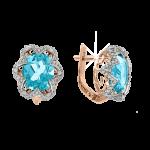 Ohrringe aus Rotgold 585° mit blau Topas, Zirkonia