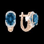 Ohrringe aus Rotgold 585° mit London blau Topas, Zirkonia