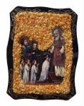 Russische Orthodoxe Ikone mit echtem Bernstein dekoriert, Amber