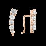 Ohrringe aus Rotgold 585° mit Zirkonia, echte Perlen