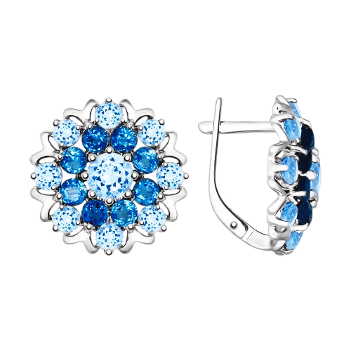 Ohrhänger aus 925er Sterling Silber mit  London Topas und blau Topas