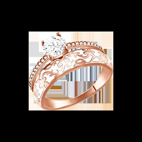 Vergoldete Damen-ring aus 925er Silber Rotgold-Beschichtung mit Zirkonia, Emaille