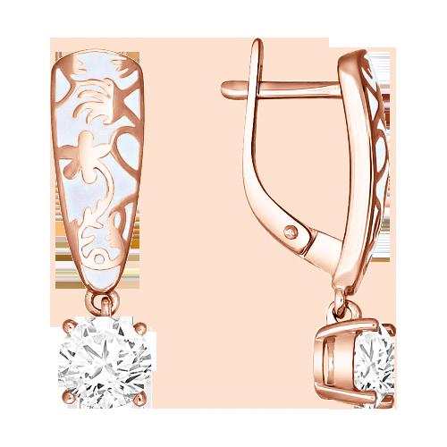 Ohrringe aus Silber 925° Rotgold-Beschichtung mit Zirkonia, Emaille