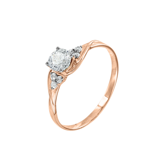 Ladys Ring in Red Gold 585 with Zirconia
