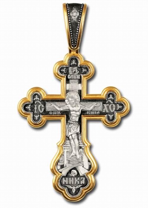 Orthodoxe Kreuz-Anhänger Silber 925° mit Rotgold Beschichtung 999°
