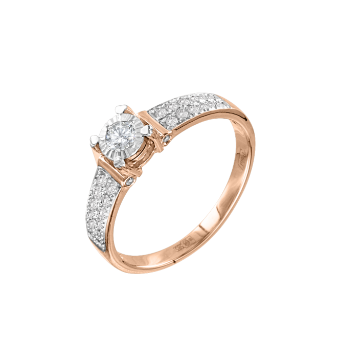 Ladys Ring in Red/ White Gold 585 with Diamonds