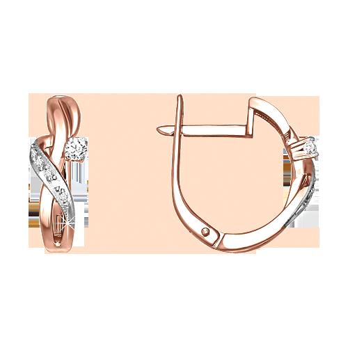 Earrings in Red Gold 585 - Diamonds