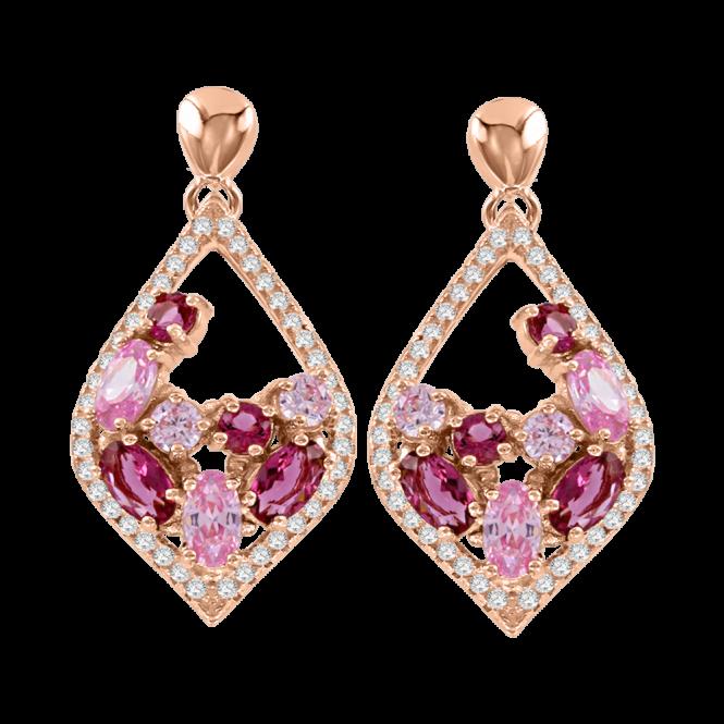 Ohrringe aus Silber 925° Rotgold-Beschichtung mit Zirkonia, Rubin HTS
