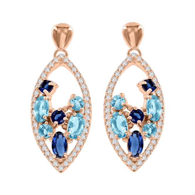 Ohrringe aus Silber 925° Rotgold-Beschichtung mit Zirkonia, Topas