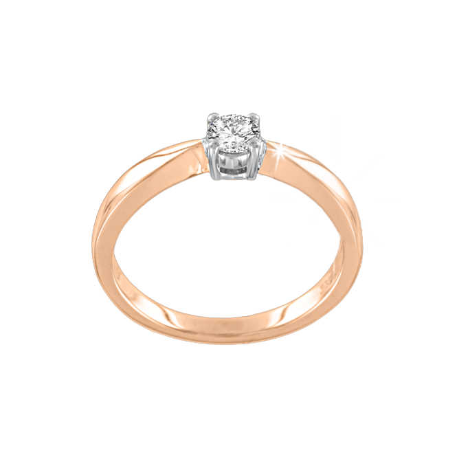 Ladies Ring in Red Gold 585 - Diamond