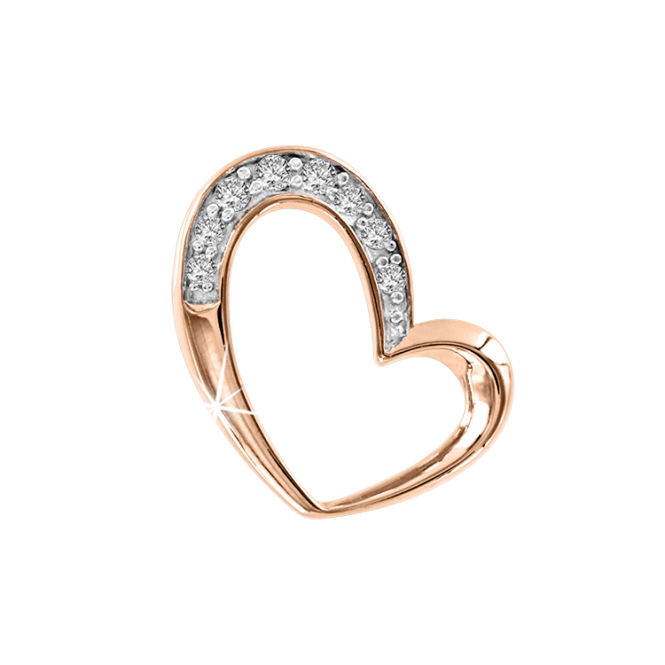 Pendant in Red Gold 585°, Silver 925° - Zirconia