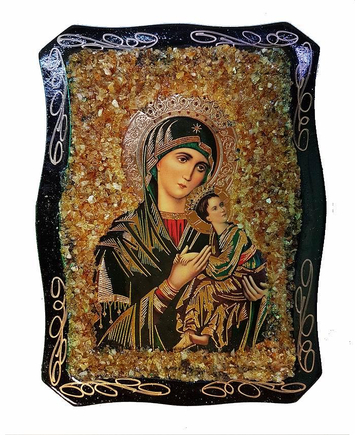 Russische Orthodoxe Ikone mit echtem Bernstein dekoriert.