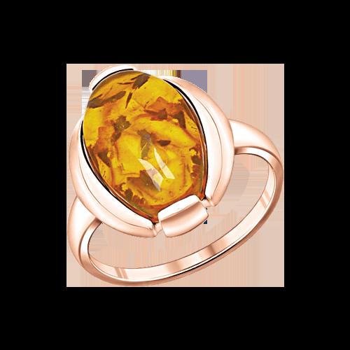 Vergoldete Damen-ring aus 925er Silber Rotgold-Beschichtung mit Bernstein