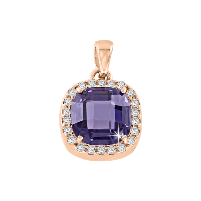 Pendant in Red Gold 585°, Silver 925° - Zirconia, Amethyst